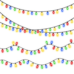 Set of xmas colorful glowing garland. Christmas lights isolated on white background. EPS 10 vector illustration