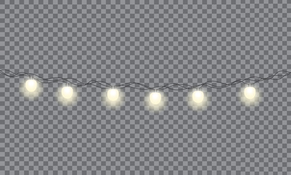 Set of xmas glowing garland. Christmas lights isolated on transparent background. EPS 10 vector illustration