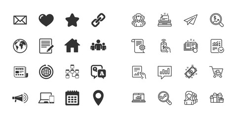 Set of Communication, Conference and Information icons. E-Mail, Printer and Internet signs. Support and Phone call symbols. Plane, information report and shopping cart icons. Group. Vector
