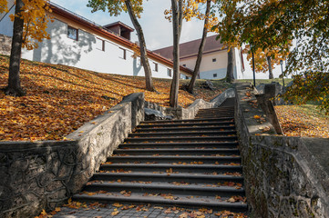Old medieval stairs in autumn park. Cesis town. Latvia