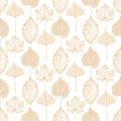 Transparent gold skeleton leaves autumn seamless pattern