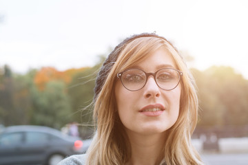 Beautiful woman portrait in glasses