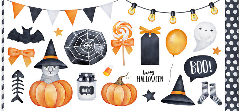 Happy Halloween big collection with kitty character, party garlands, various holiday symbols. Hand drawn watercolour painting on white, clip art graphic elements for creative design, printable decor.