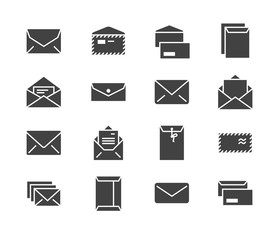Envelopes flat glyph icons. Mail, message, open envelope with letter, email vector illustrations. Signs for web site, post office. Solid silhouette pixel perfect 64x64.