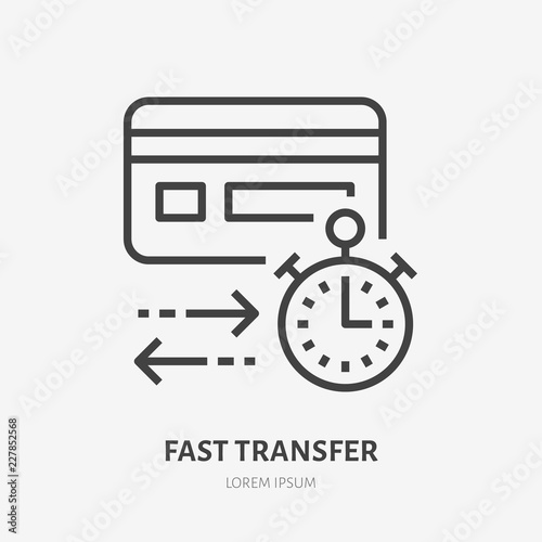 Fast Money Transaction Sign Thin Linear Logo For Financial Services Quick Cash Transfer Online Payment Vector Ilration
