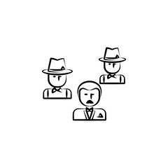 gang, criminal, godfather, mafia icon. Element of crime icon for mobile concept and web apps. Hand drawn gang, criminal, godfather, mafia icon can be used for web and mobile