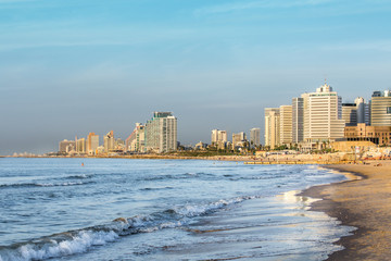 The skyline of Tel Aviv Israel at sunset