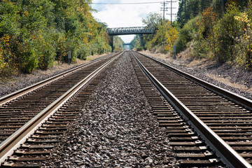 View of double steel railroad tracks on a sunny day