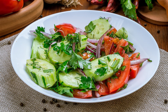 Vegetable salad with tomatoes and cucumbers