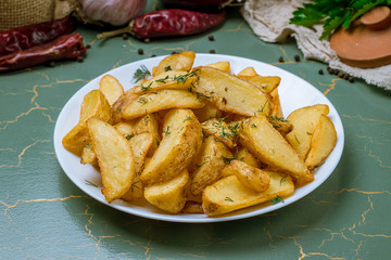 The potatoes wedges on the Board