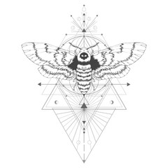 Vector illustration with hand drawn dead head moth and Sacred geometric symbol on white background. Abstract mystic sign. Black linear shape. For you design: tattoo, print, t-shirts, textiles.