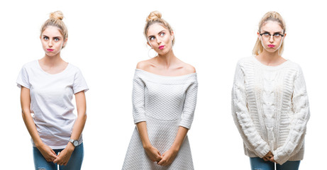 Collage of young beautiful blonde woman over white isolated background making fish face with lips, crazy and comical gesture. Funny expression.