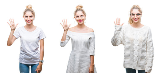Collage of young beautiful blonde woman over white isolated background showing and pointing up with fingers number five while smiling confident and happy.