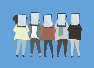 People holding digital tablets illustration