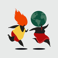 Planet earth being chased by global warming illustration