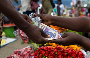 Buying vegetables in the market
