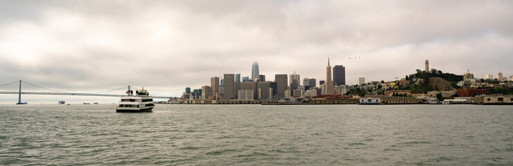 Long Panoramic View San Francisco Ferry Fishermans Wharf City Skyline