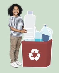 Happy boy collecting plastic bottles in a recycling box