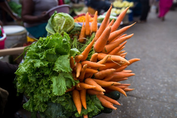 Fresh carrots in the market