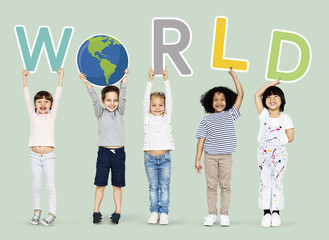 Happy kids supporting a global environment campaign