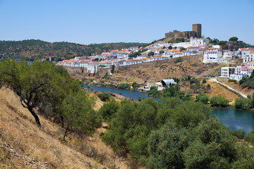 The view of Mertola town over the Guadiana river. Portugal