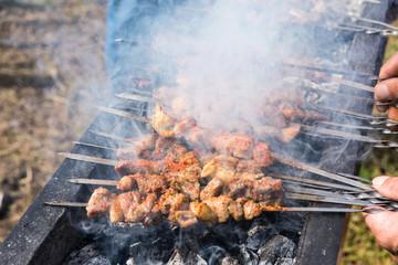 lamb kebabs on skewers