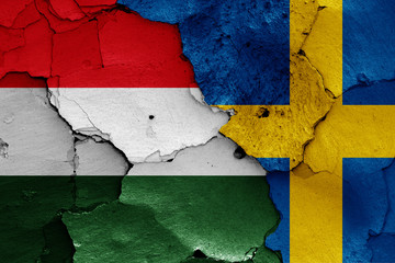 flags of Hungary and Sweden