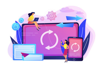 Wall Mural - Cross-device syncing concept vector illustration.