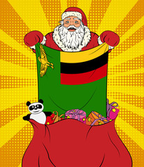 Santa Claus gets national flag of Zambia out of the bag with toys in pop art style. Illustration of new year in pop art style