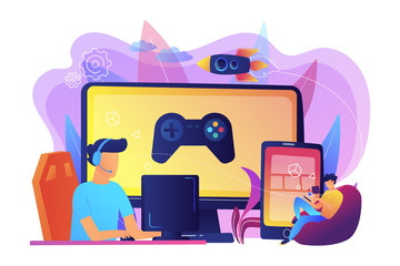 Cross-platform play concept vector illustration.