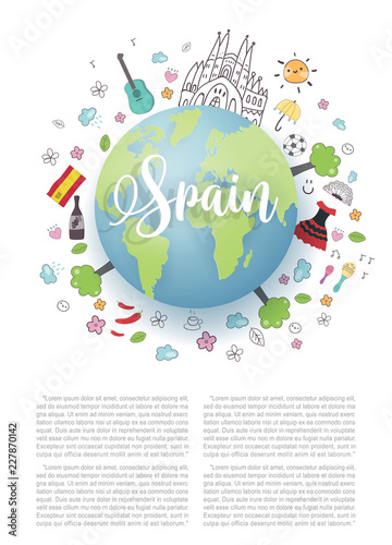 Map Of Spain Landmarks.Spain World Map For Tourist And Travel Postcard Or Poster