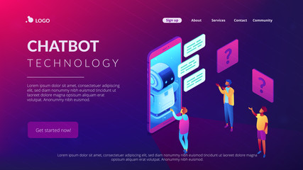Chatbot technology isometric 3D landing page.