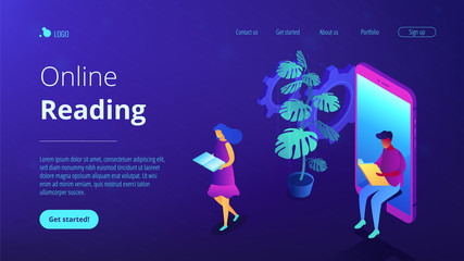 Online education isometric 3D landing page.