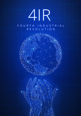 Fourth industrial revolution futuristic hud banner with globe and hands.