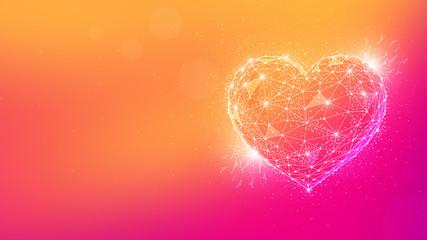 Polygon valentine heart on multicolor background.