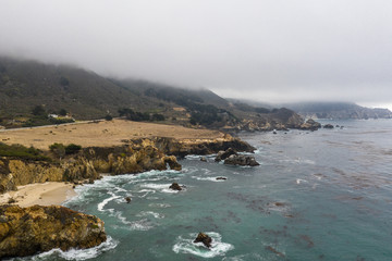 Aerial of Rocky Northern California Coast and Marine Layer