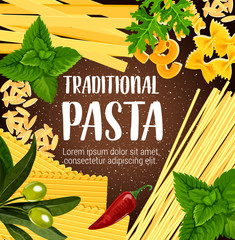 Traditional pasta with seasoning, vector