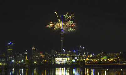 Auckland Night View from St Marys Bay Beach, Auckland New Zealand; Fireworks New Year Celebration