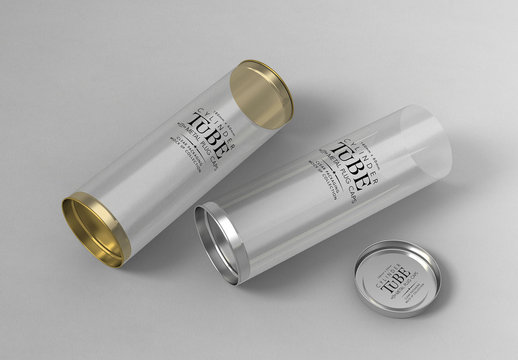 Cylinder Packaging with Plug Caps Mockup
