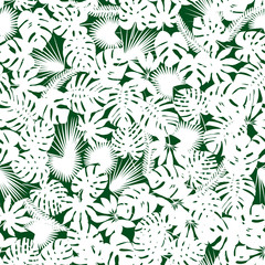 Palm and monstera leaves silhouettes background. Vector seamless pattern with tropical plants. Jungle foliage illustration. green and white.