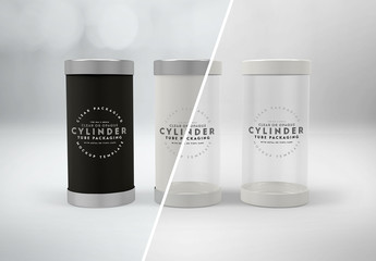 Cylinder Packaging with Lids Mockup