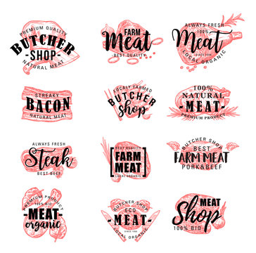 Butcher shop and meat products, vector