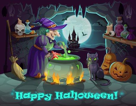 Halloween witch, pumpkin and potion cauldron