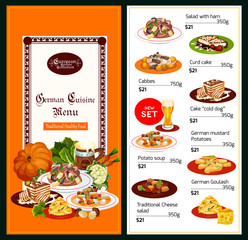 German cuisine menu salads and desserts
