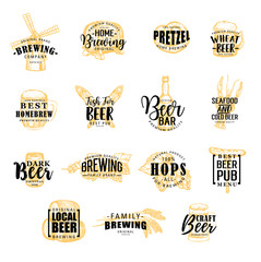 Brewery and beer icons, vector lettering