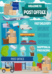 Post office, mail transportation, shipping