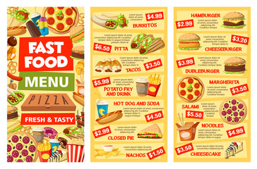 Fastfood menu banners takeaway food and prices