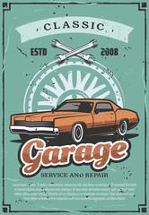 Garage repairing service, vector vintage car