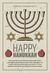 Happy Hanukkah, vector gold menorah