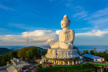 aerial view Phuket Big Buddha is one of the island most important and revered landmarks on the island..big Buddha is on the top of high mountain can see around the Phuket island when you are there